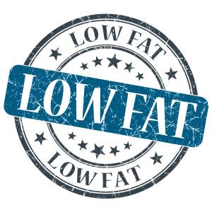 Low Fat blue grunge round stamp on white background
