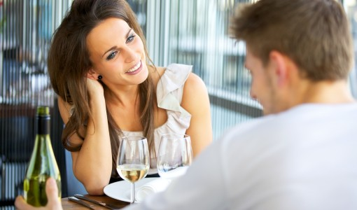 Portrait of a romantic dating couple at a restaurant