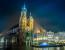 Krakow old city at night St. Mary's Church at night. Krakow Poland.
