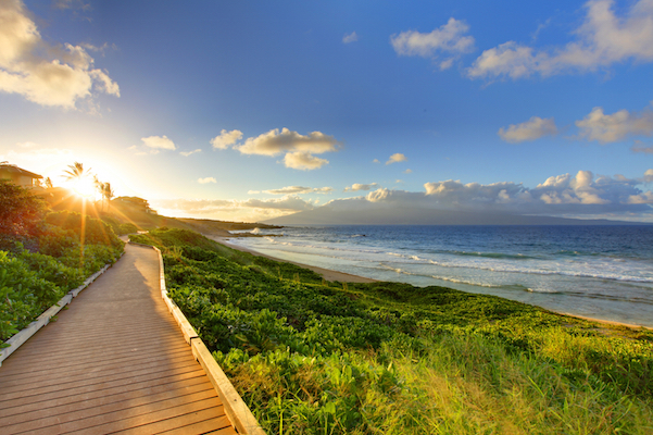 Oneloa Beach Pathway at sunset, Maui Hawaii